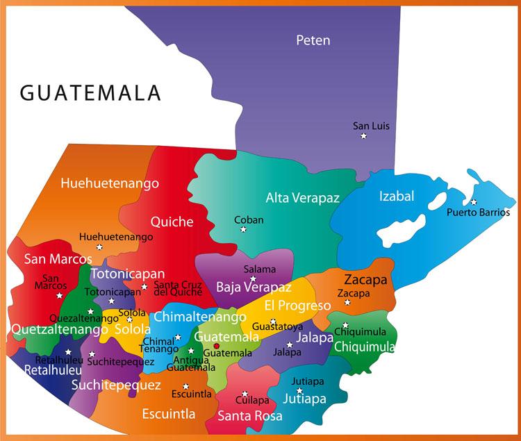 Guatemala Karte.Karte Der Provoninzen Guatemalas