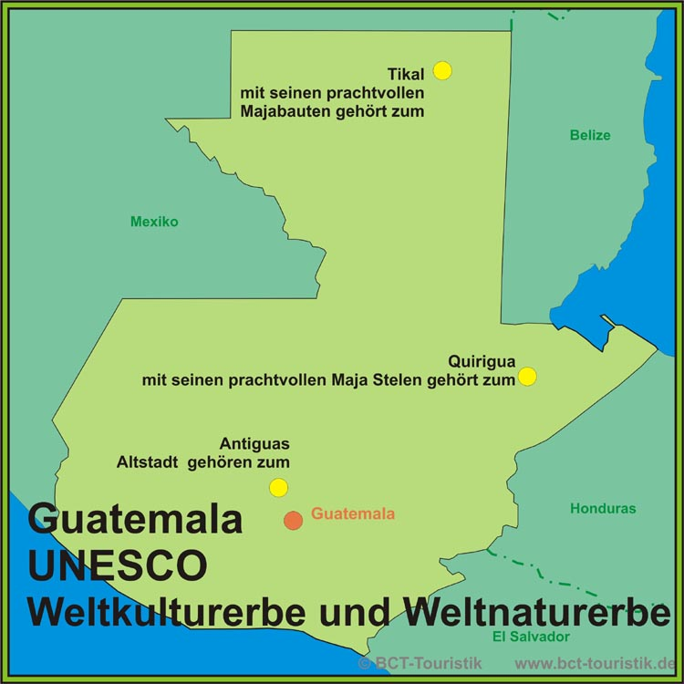 Guatemala Karte.Guatemala Karte Der Unesco Weltkulturerbe Stätten